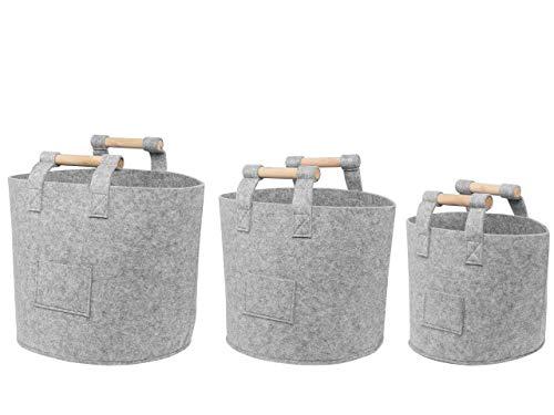 Beliani Conjunto de 3 cestas de Fieltro GIS Claro DEVRE