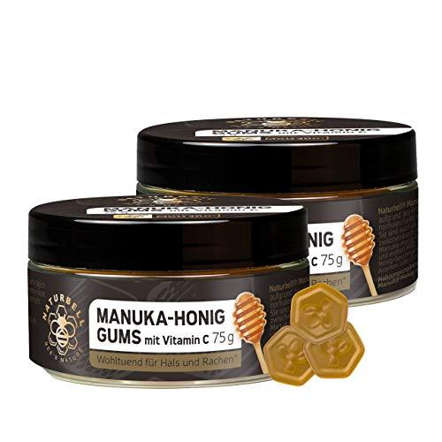 Naturbell Manuka-Honig Gums mit Vitamin C, wohltuende Hustenbonbon Gums mit echtem Manuka Honig aus Neuseeland, ideal bei Erkältung und Hustenreiz, 2 x 75g