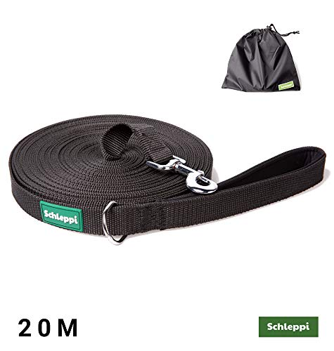 Schleppleine für kleine und Grosse Hunde, 20m mit gepolsterter Handschlaufe und Aufbwahrungsbeutel/Trainings & Übungsleine reissfest und abwaschbar schwarz