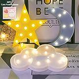 QiaoFei - Señales decorativas LED con forma de media luna y estrella, para guardería de bebé, decoración para niños, yellow star-blue moon-white cloud