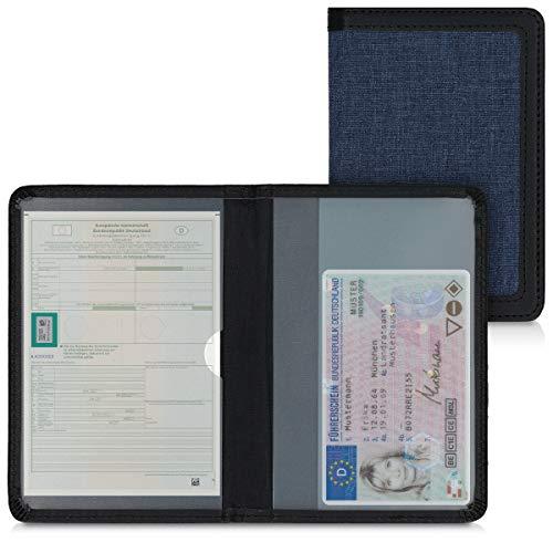 kwmobile Funda para permiso de circulación - Cubierta de tela para documentos del vehículo - Estuche con tarjetero en azul oscuro negro