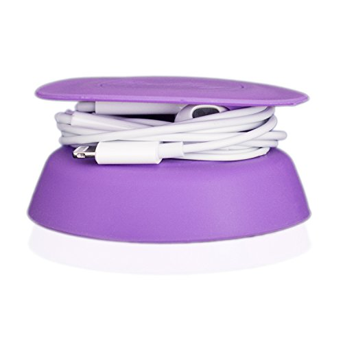 Budley - Tangle-Free Earphone/Earbud Case, Compact Storage System, Silicone (Purple, Set of 1)