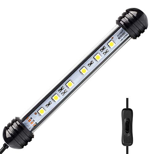 NICREW Luz Blanca LED Sumergible Para Acuarios, Barra De Luz Subacuatica 2W 18Cm Lampara Sumergible Acuario LED, Tubos De Luz Impermeable