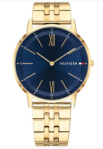 Tommy Hilfiger Herren Analog Quarz Uhr mit Paqué or Armband 1791513