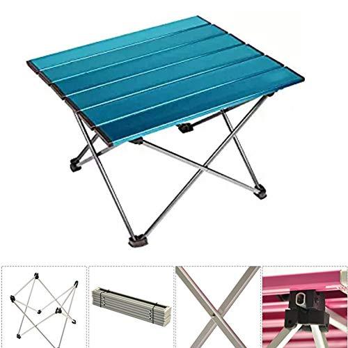 YAOBAO Tragbare Camping-Beistelltische mit Aluminium-Tischplatte, Roll-Side-Camping-Tische, Klapptisch für Picknick, Camp, Strand, nützlich zum Essen und Kochen,Blue