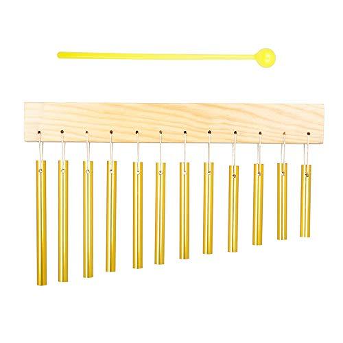 negaor Carillón de viento de 12 barras, tubo de aluminio y material de madera maciza, instrumento de percusión para exterior, decoración del jardín, herramienta de educación musical, regalo con mazo
