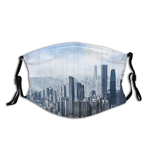 ZORMIEY Face Cover New York NYC über Manhattan von der Spitze der Wolkenkratzer Urban Global Culture Kunstvolles Stadtpanorama Wiederverwendbare Anti-Staub-Mund-Bandanas mit 2 Filtern