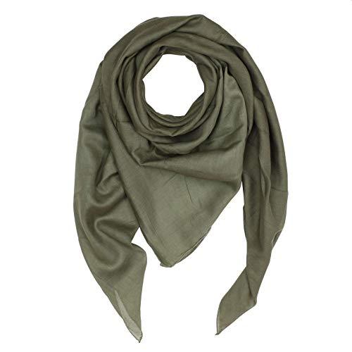Superfreak Baumwolltuch - Tuch - Schal - 100x100 cm - 100% Baumwolle Farbe grün - Khaki