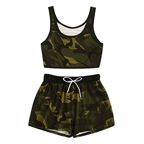 Aniywn Womens Summer Camouflage Print Tank Tops and Elastic Shorts Set Casual Loose Sleeveless Camo Vest and Pant