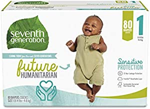 Seventh Generation Baby Diapers, Size 1, 80 Count, Super Pack, for Sensitive Skin