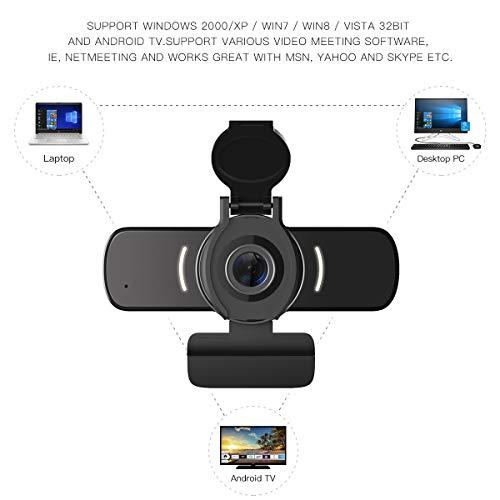 LarmTek Webcam für PC,1080P Webcam mit Webcam Abdeckung,USB Computerkamera mit integriertem Mikrofon für Live Streaming Spiele für Videokonferenzen
