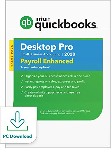 QuickBooks Desktop Pro with Enhanced Payroll 2020 Accounting Software for Small Business with Shortcut Guide [PC Download]