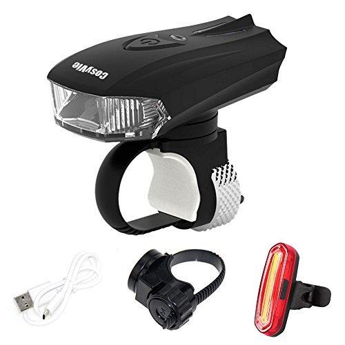 CosyVie - Set di Illuminazione per Bicicletta, Kit Luce Posteriore e Anteriore USB Ricaricabile, Blu, Nero