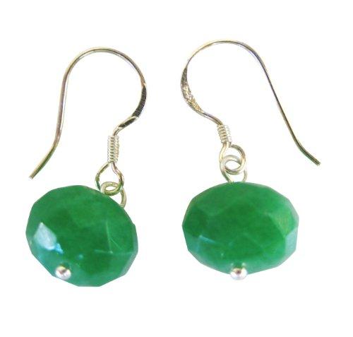 Smilla Brav Jade Plata de ley–Pendientes para mujer–Verde/facettiert–tr42