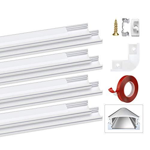 LED Aluminium Profil U-Form 8x1m Led Aluminium Leisten LED Lichtleiste Weiß Milchig für LED-Streifen(1-12mm) mit 3M Klebstoff Metall Befestigungs Clips Endkappen U rechtwinkliges PEBA