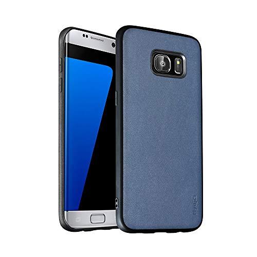 Hyujia Funda Compatible para Samsung Galaxy S7 Edge Carcasa Hard Caja Case Cover Anti-Scratch Cuero Premium+PC+TPU Caso para Samsung S7 Edge Carcasa Resistente-Azul