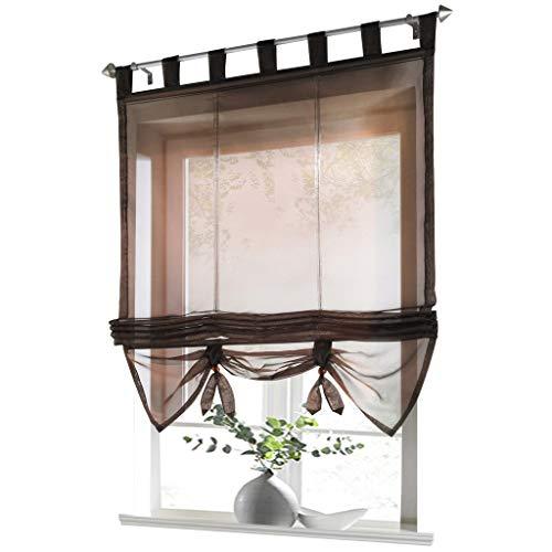 ESLIR Raffrollo mit Schlaufen Gardinen Küche Raffgardinen Transparent Schlaufenrollo Vorhänge Modern Voile Braun BxH 120x155cm 1 Stück