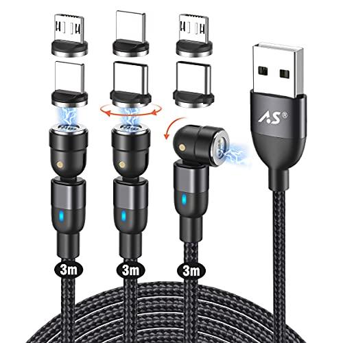 マグネット 充電ケーブル 3in1 A.S 急速充電 QC3.0データ転送 USB マグネット ケーブル 360度+180度回転 磁石 磁気 防塵 着脱式 iP/Android/Type-C/Micro USB対応