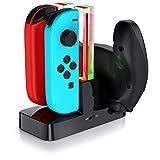 CSL - Estación de Carga Nintendo Switch para los Joy-Con - 4 x JoyCon o 2 x JoyCon y 1 x mando Pro Nintendo Switch - LED de estado - Negro