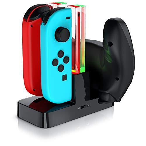 CSL - Ladestation für Nintendo Switch Gamepad - Joy-Con Ladehalterung - Controller Ladedock - Charging Dock - Joy Con Ladehalter - LED-Ladestandsanzeige - Schwarz