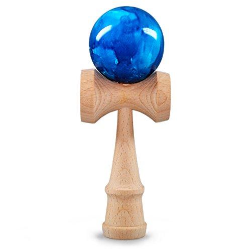 Ganzoo Kendama aus echtem Buchen-Holz, Original Japanisches traditionelles Holz-Spielzeug, Modell: blau, Kugel-Spiel, Geschicklichkeits-Spiel
