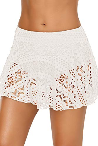 Women's Mid Waist Triangle Lace Crochet Skirt Bikini Bottoms Small White