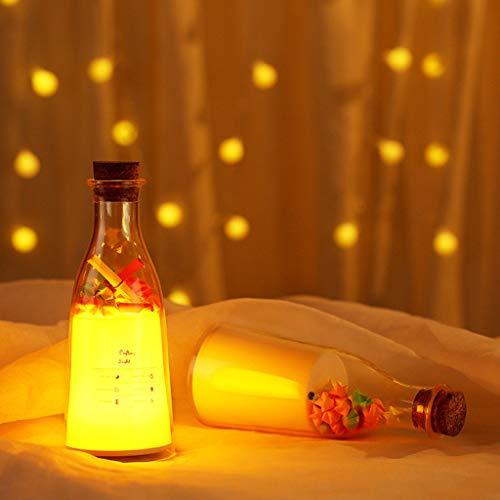 Colorido mensaje en botella de leche, luz nocturna LED, decoración para dormitorio, lámpara de decoración creativa