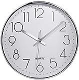 Reloj de Pared Moderno,Grandes Decorativos Silencioso Interior Reloj de Cuarzo de Cuarzo Redondo No-Ticking para Sala de Estar,Panel Blanco Marco Plata, Funciona con Pilas,30 cm diámetro