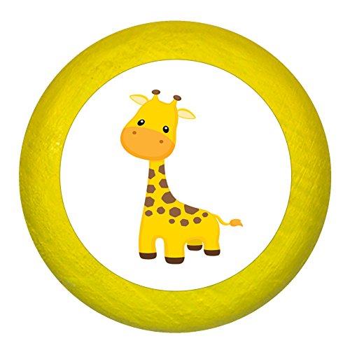 """Kommodengriff""""Giraffe"""" gelb Holz Buche Kinder Kinderzimmer 1 Stück wilde Tiere Zootiere Dschungeltiere Traum Kind"""