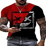 Camiseta De Manga Corta con Estampado GeoméTrico Sonriente con Cuello Redondo Y Moda Informal Suelta De Verano para Hombre