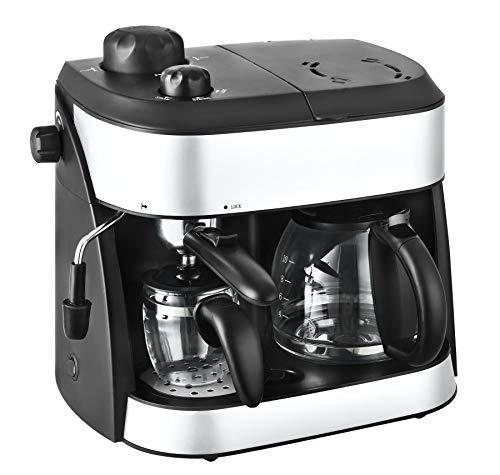 Team Kalorik Machine à Café et Expresso 2-en-1, Avec 2 verseuses Incluses (1.25 L + 0.24 L), 1800 W, Noir/Argenté, TKG EXP 1001 C