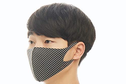 【LOOKA ルカ】デザイン マスク UV 花粉症 インフルエンザ 対策 繰り返し 洗える 蒸れない 肌荒れしない 個包装 黒 ファッション Mサイズ Sサイズ 男女兼用 (BLACK×WHITE STRIPE) M