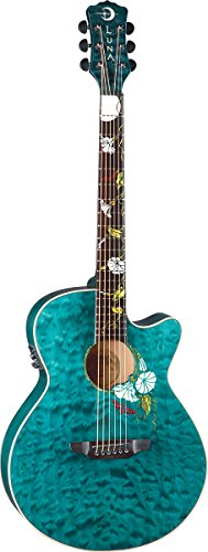 Luna Flora Series Moonflower Custom Folk Acoustic-Electric Guitar - Trans Mallard