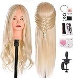 Cabeza de peluquería TwoWin 24 pulgadas de largo, maniquí de pelo de cosmetología, cabeza de muñeca con soporte de abrazadera y accesorios, rubio, adecuado para alisar, rizar, permanente