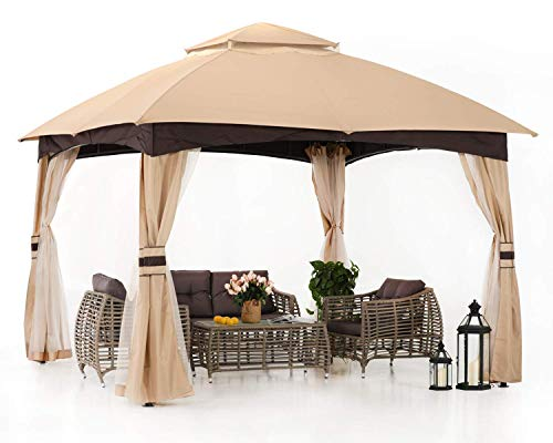 ABCCANOPY 10' x 10' Gazebos Patio Garden Gazebo with Mosquito Netting,Double Soft-top (Brown)