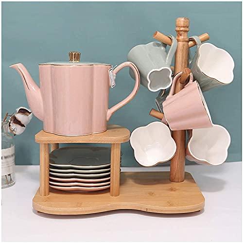 FFLLBPS0911 Vajillas Tazas de café,Taza de café Estilo nórdico Juego de té de cerámica Luz de Lujo Sala de Estar Taza de té Juego de té de la Tarde Personalizado Innovador(Color:Pink Hit Green)