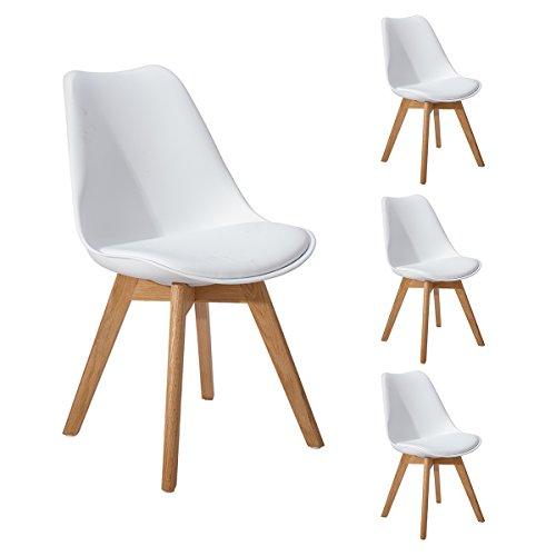 DORAFAIR 4er Set Esszimmerstühle skandinavisches Design mit Massivholz Eiche Bein und Kissen, Weiß