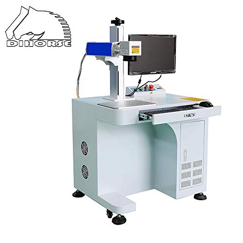 """DIHORSE Desktop 30W Fiber Laser Marking and Engraving Machine for Permanent Metal and Various Non-metal Gold Sliver Rings Jewelry Engraving (MAX, 30W, 7.87"""" x 7.87"""", 50MM Rotary Axis)"""