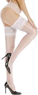 GhostCat Women's Ultra Shimmery Sexy Lace Sheer Thigh High Compression Stockings Stay Up Silicone Shiny Pantyhose