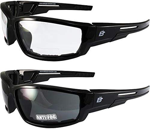 2 Pairs of Birdz Eyewear Swoop Anti Fog Padded Motorcycle Sunglasses Black Frame Clear Smoke product image