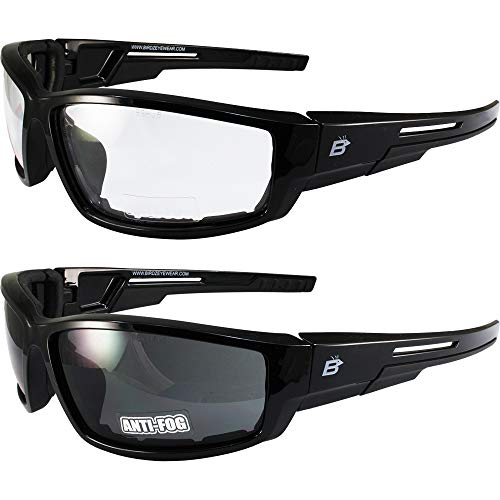2 Pairs of Birdz Eyewear Swoop Anti-Fog Padded Motorcycle Sunglasses Black Frame Clear + Smoke Lenses
