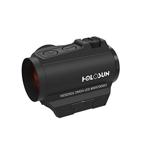Holosun HS503G-U Microdot Rotpunktvisier mit wechselbarem 2MOA Punkt, 65MOA Kreis Absehen, schwarz, Picatinny/Weaver Schiene, Jagd, Sportschießen, Softair, Tactical Micro re… - 70127324
