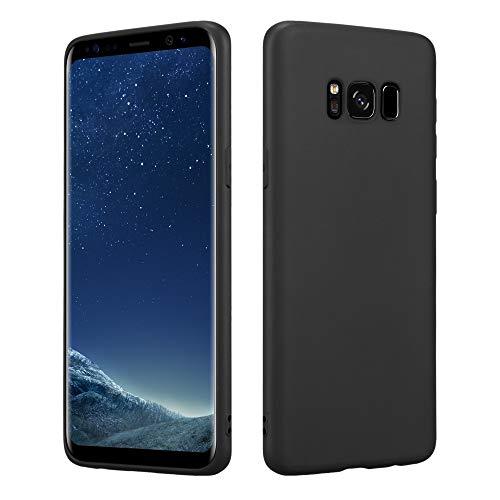 HSP Schwarze Hülle kompatibel mit Samsung Galaxy S8 | Premium TPU Silikon Case | Geeignet für Induktives Laden | Kratzfest Stoßfest | Matte Oberfläche | Passgenaue, weiche, dünne Schutzhülle