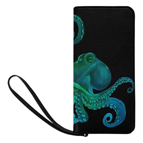 InterestPrint Women's Blue Watercolor Octopus Sea Poulpe Credit Card Wallet Clutch Purse, Huge Storage Capacity