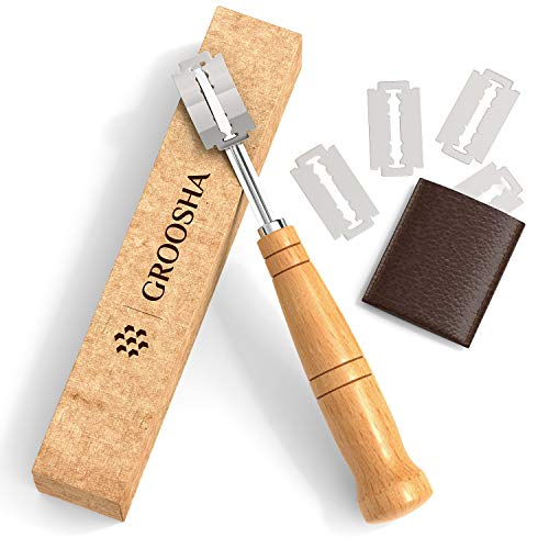 GROOSHA Bread Lame Slashing Tool – Dough Handcrafted Wood scoring knife – Bread Lame kit With 5 Razor Blades – Includes Compact Leather Storage Case – Beautiful Design – Easy to Use