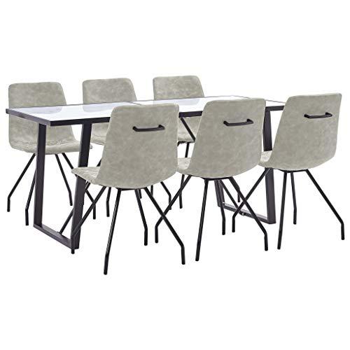 Goliraya Juego de Comedor 7 Piezas Conjunto de Mesa y 6 sillas de Comedor para Salón, Sala de Estar, Cocina, Oficina Cuero Sintético Color Gris
