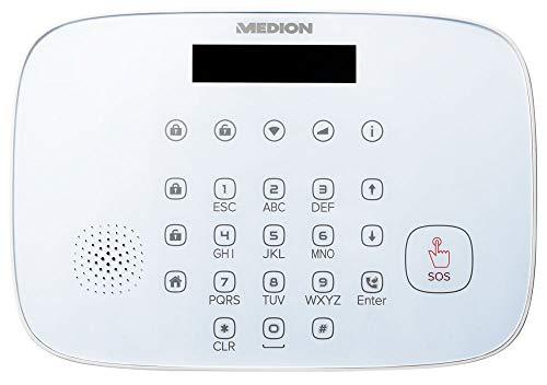 MEDION P85773 Smart Home Sicherheitsset (Alarmanlage, bis zu 85db, 3 x Tür-und Fensterkontakt, 1 x Bewegungsmelder, GSM Technologie SIM Karte, WLAN 2.4GHz, Notstrom)