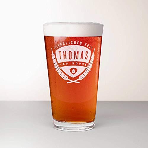 Vaso de cerveza personalizado, vaso de pinta grabado - Saaz