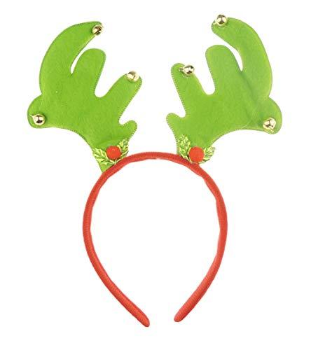 Dames Mens Feestelijke Kerstfeest Deeley Bopper Hoofdband Alice Band Antlers Klokken Eén maat Groen