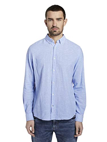 TOM TAILOR Ray Linen Cotton Camicia, 11869/Chambray Blu Cielo, M Uomo